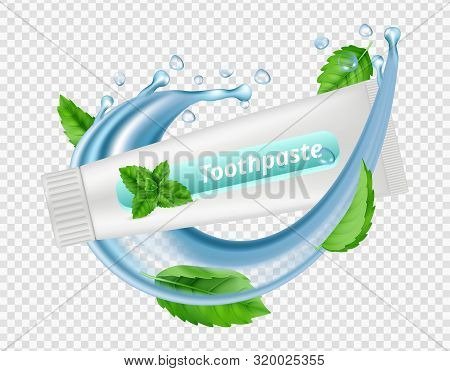 Mint Toothpaste. Water Splash, Mint Leaves, Toothpaste Tube Isolated On Transparent Background. Dent