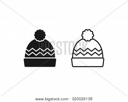 Winter Hat Icon. Vector In Simple Flat Design, Outline. Knit Wool Beanie With Pompom Isolated On Whi