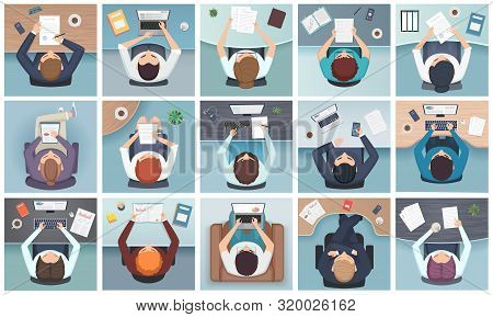 People Top View. Business Characters Sitting At The Table Standing Notes Documents Office Supplies V