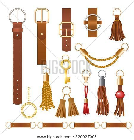 Belt Elements. Fashion Leather Chains Fabric Furniture Elegant Jewelry For Clothes Vector Collection