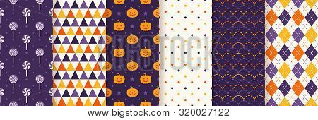 Halloween Seamless Pattern. Haloween Texture. Vector. Geometric Background With Pumpkin Face, Candy,