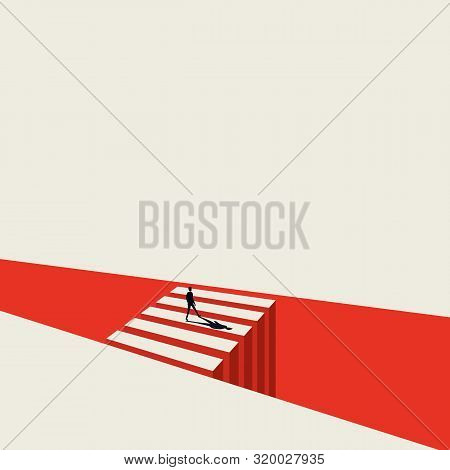 Business Opportunity And Decision Vector Concept With Businessman Standing Next To Crossing. Symbol