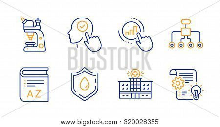 Graph Chart, Blood Donation And Vocabulary Line Icons Set. Microscope, Hospital Building And Select
