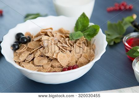 Healthy Breakfast With Cornflakes And Fresh Berries On White Wooden Healthy Tasty Breakfast Multigra
