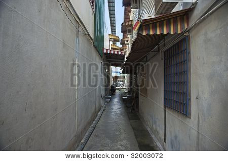Very Narrow Small Long Side Allay In Chinatown