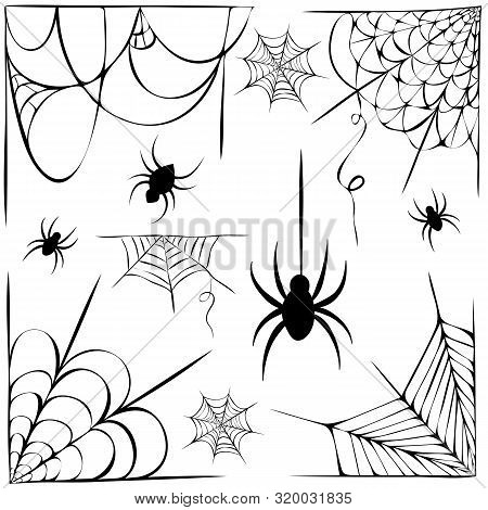 Big Vector Set Of Cobwebs And Hanging Spiders Silhouette Isolated On White. Line Art Of Spider Webs