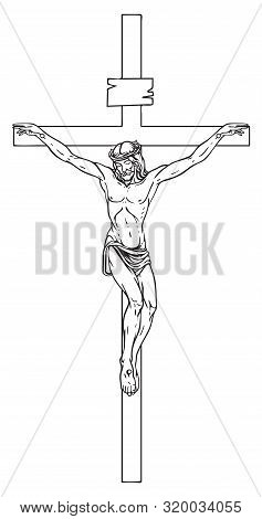 Vector Illustration Of Religious Symbol Crucifix. Jesus Christ, The Son Of God In A Crown Of Thorns