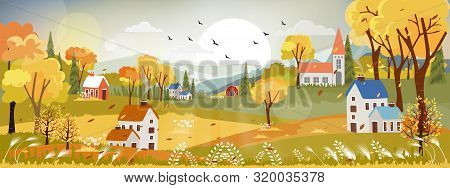 Fantasy Panorama Landscapes Of Countryside In Autumn,panoramic Of Mid Autumn With Farm Field, Mounta