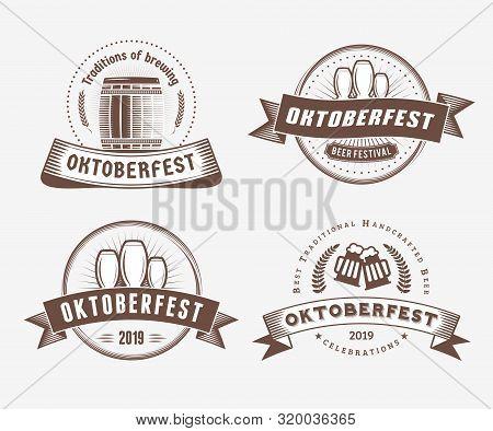 Beer Festival Oktoberfest Celebrations. Set Of Retro Vintage Beer Badges, Labels, Logos For Bar, Pub