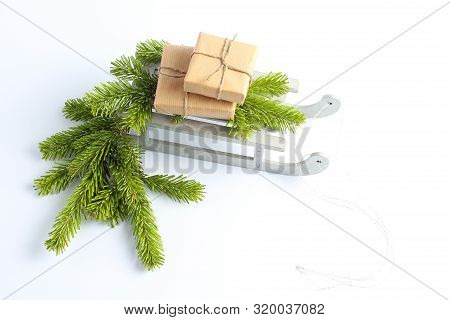 Christmas Sleigh With Gifts. New Years Concept.