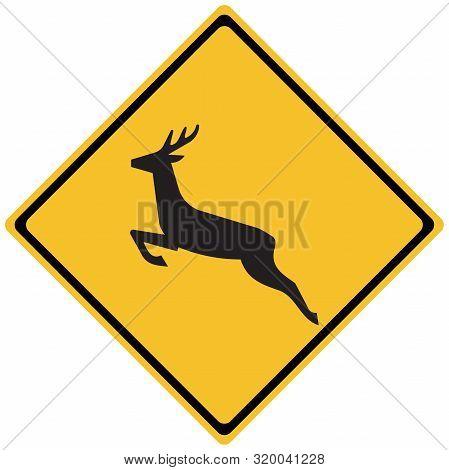 Traffic Road Sign - Wildlife Deer Crossing On Diamond Sign. Symbol, Sign,caution,warning,label Etc.