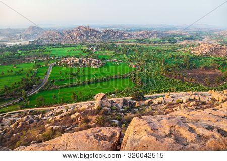 Temple Ruins At Hampi, The Centre Of The Hindu Vijayanagara Empire In Karnataka State In India