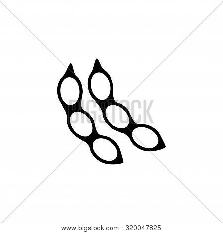 Soya Bean Pod, Soybean. Flat Vector Icon Illustration. Simple Black Symbol On White Background. Soya