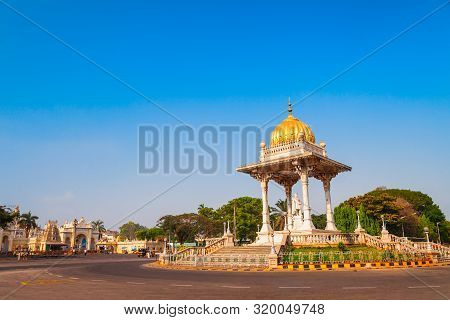 Statue Of Maharaja Chamarajendar Wodeyar King In The Centre Of Mysore City In India