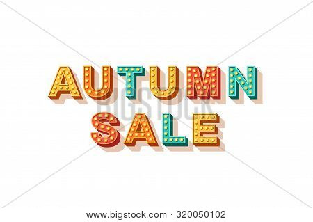 Autumn Sale Flat Vector Lettering. Seasonal Shopping Event, Fall Wholesale Banner Design Element. De
