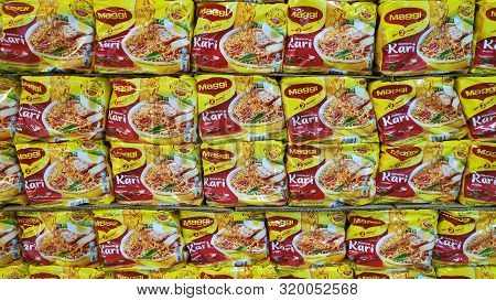 Johor Bahru, Malaysia - Aug 30, 2019 : Maggi Mee Instance Noodles On A Market Shelf. This Is One Of