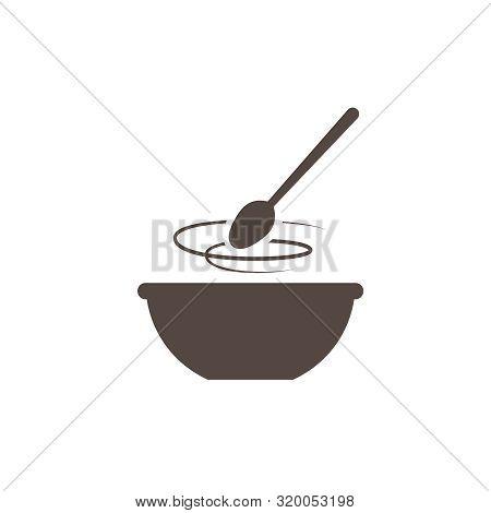 Kitchen Icon Bowl With Spoon, Flat Vector Illustartion. Cooking Logo.