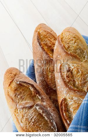 Three Crusty French Baguettes