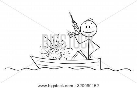 Vector Cartoon Stick Figure Drawing Conceptual Illustration Of Happy Man Or Businessman Sitting In R
