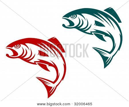 Salmon fish in two variations for fishing sports mascot poster