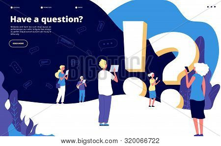 Faq Landing Page. People Ask Questions And Get Answers. Questioning Person, Problem Solution Abstrac