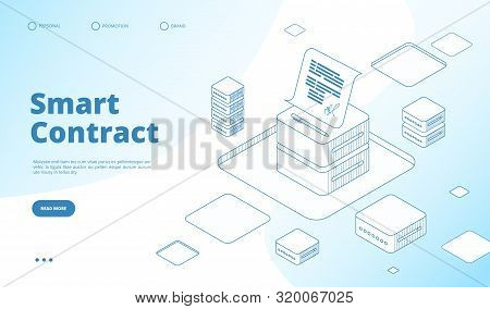 Smart Contract Concept. Ethereum Cryptography Technology. Contractor Agreement With Digital Signatur