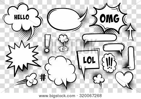 Comic Text Speech Bubble Pop Art Style. Set Of White Cloud Talk Speech Bubble. Isolated White Speech