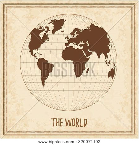 Old World Map. Gilbert's Two-world Perspective Projection. Medieval Style Treasure Map. Ancient Land