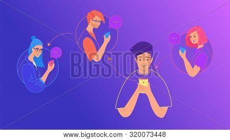 Social Media Chat And Data Sharing Concept Flat Vector Illustration. Teenage Boy Using Mobile Smartp