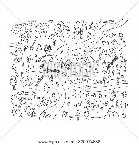 Advertising Flyer Hand Drawn Camp Cartoon Flat. Quick Sketch, Freehand Drawn Card. Signposts For Tra