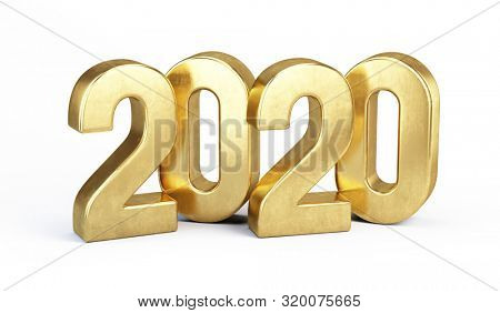 Gold 2020 numbers New year concept - isolated on white background. 3d rendering