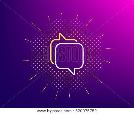 Messenger Line Icon. Halftone Pattern. Speech Bubble Sign. Chat Message Symbol. Gradient Background.