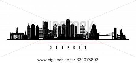 Detroit City Skyline Horizontal Banner. Black And White Silhouette Of Detroit City, Michigan. Vector