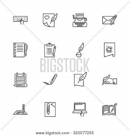 Writing, Write Poetry Outline Icons Set - Black Symbol On White Background. Writing, Write Poetry Si
