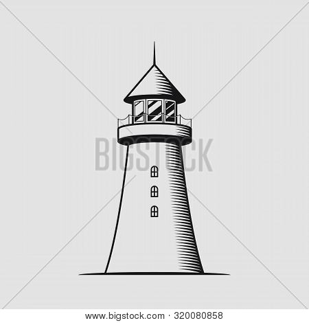 Monochrome Vintage Nautical Concept With Lighthouse Isolated Vector Illustration