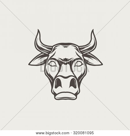 Vector Logo, Emblem, Label Template With Black And White Bull Head.