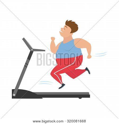 Cartoon Man  Runs On Treadmill. Vector Illustration.