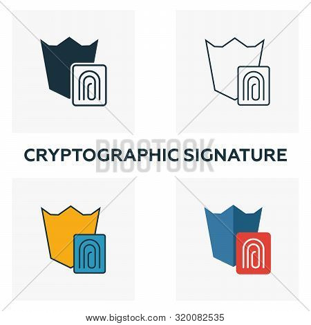 Cryptographic Signature Icon Set. Four Elements In Diferent Styles From Crypto Currency Icons Collec