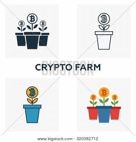 Crypto Farm Icon Set. Four Elements In Diferent Styles From Crypto Currency Icons Collection. Creati