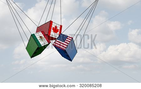 Usmca North America Or The New Nafta United States Mexico Canada Agreement Symbol With Flags As A Tr