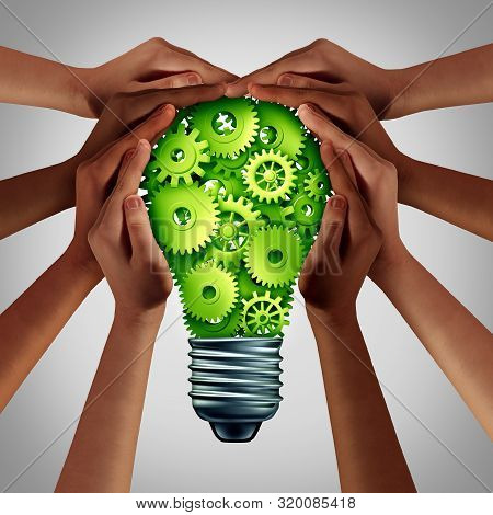 Electric Power Concept And Energy Efficiency Idea As A Green Solution With Diverse Hands Holding A L