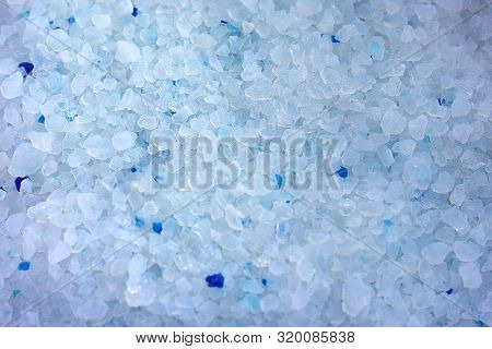 Silica Gel Granules Close-up. Feline White Fill In The Entire Frame