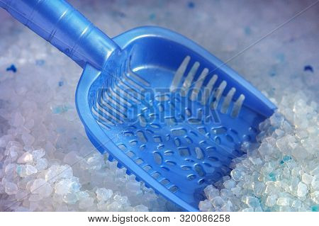 Silica Gel Cat Litter Tray And Dustpan. Absorber Of Odor And Moisture. Pet Hygiene.
