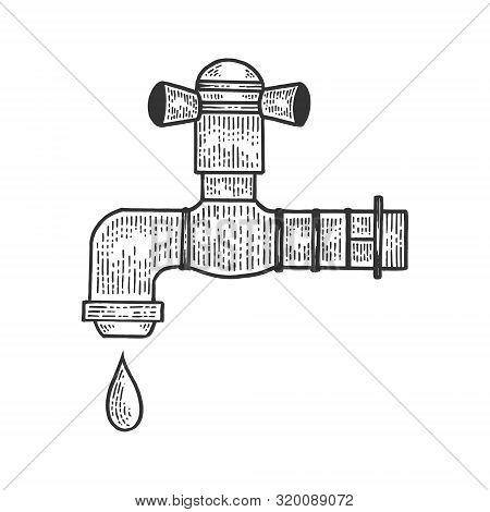 Water Tap With Drop Sketch Engraving Vector Illustration. Tee Shirt Apparel Print Design. Scratch Bo
