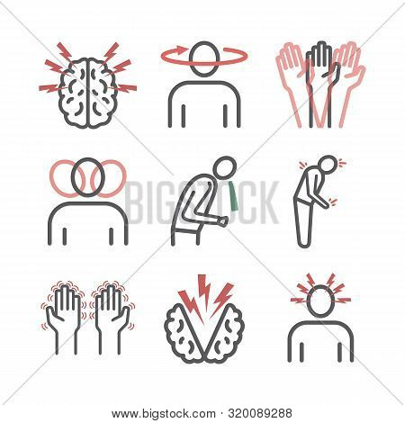 Concussion. Symptoms, Treatment. Line Icons Set. Vector Signs For Web Graphics.