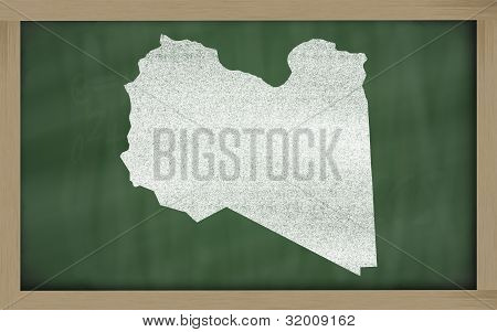 Outline Map Of Lybia On Blackboard