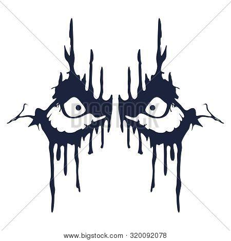 Demonic Ugly Face. Devil Character. Demon Or Monster Eyes.