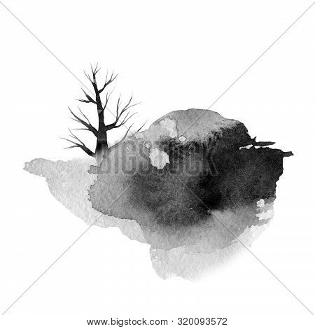 Big Gray Spot With A Tree, Monochrome Watercolor Illustration, Hand Drawing