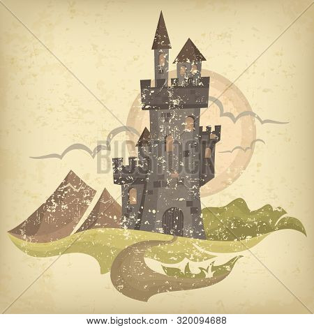 Retro Castle Color Grange Sketch, Antique Royal Building. Vector Illustration.