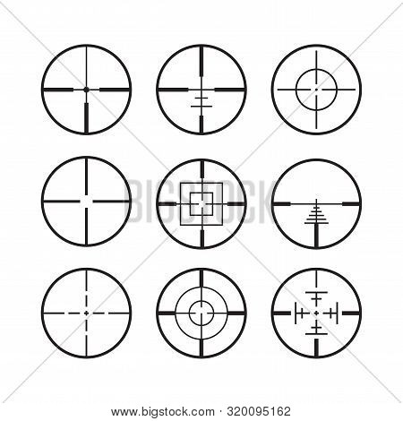 Targets And Destination Military Icon Set. Symbol Crosshair Aim. Army Sight Target. Sign Aiming Snip